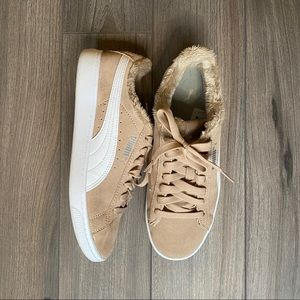 PUMA Suede Beige Shoes with Fur Inside